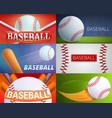 baseball equipment banner set cartoon style vector image vector image