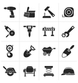 Black building and construction icons vector image