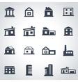 black buildings icon set vector image vector image