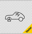 black line broken car icon isolated on transparent vector image vector image