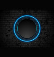 blue neon circle on grunge brick wall background vector image vector image