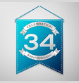 blue pennant with inscription thirty four years vector image vector image