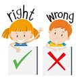 Boy with wrong sign and girl with right sign vector image vector image