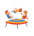 boys jumping on trampoline happy trampolining vector image