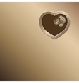 Bronze background with gold heart and gears vector image vector image