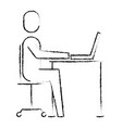 businessman sitting desk laptop working vector image