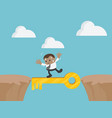 businessman walking on gold success key precipice vector image
