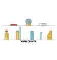 canada vancouver city flat landmarks vector image vector image