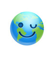 cartoon earth face happy smile winking icon funny vector image vector image