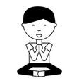 cartoon man practicing yoga vector image vector image
