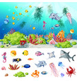 cartoon sea and ocean life concept vector image vector image