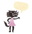 cartoon wolf girl with speech bubble vector image