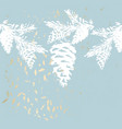 chic winter pastel gold print pine braches botany vector image vector image