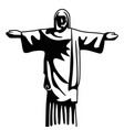 christ redeemer brazil monument in black and white vector image vector image