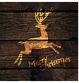 Christmas Greeting Card with Shining Gold Deer vector image