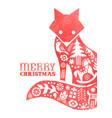 christmas watercolor folk vintage fox card vector image