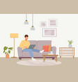 convenient work at home male vector image