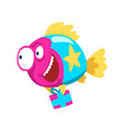 cute colorful smiling fish holding gift box vector image vector image