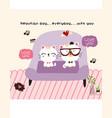 cute couple cat doodle cartoon vector image vector image