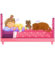 cute girl sleeping with dog on bed vector image vector image