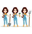farmer girl dressed in work jumpsuit set cute vector image vector image