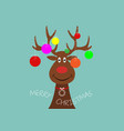 festive christmas reindeer wearing christmas tree vector image