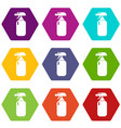 fire extinguisher icons set 9 vector image