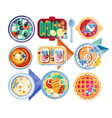 food icon set plates with different dishes green vector image vector image