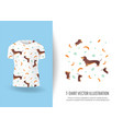 funny dogs print on t-shirts vector image