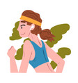 girl running in city park active and healthy vector image vector image