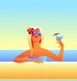 girl sunbathes on beach with cocktail vector image