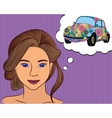 Girl think with speech bubble car vector image vector image