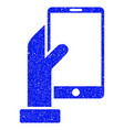 hand holds smartphone grunge icon vector image vector image