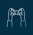 hands with gamepad colored icon in outline vector image vector image