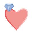 heart love with diamond pop art style vector image vector image