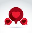 Heart over the speech bubbles icon conceptual vector image vector image