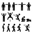 human action poses postures stick figure vector image vector image