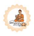 international yoga day abstract lotus and man vector image