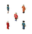 isometric human set of cleaner female vector image vector image
