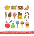 kids hand drawing tasty food vector image vector image