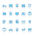 line with blue background modern multimedia icons vector image vector image
