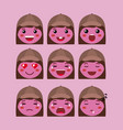 little red girls emoticon set kawaii characters vector image vector image