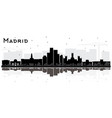 madrid spain city skyline silhouette with black vector image vector image