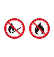 no fire and ignition sign red prohibitation signs vector image vector image