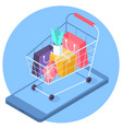 online mobile shopping isometric concept vector image