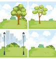 park landscape set scenes vector image
