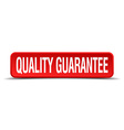 quality guarantee red 3d square button isolated on vector image