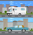 retro car and camper van in urban landscape vector image vector image