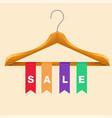 sale clothes hanger sale colorful ribbon backgroun vector image