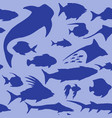 seamless pattern with sea fish silhouettes vector image vector image
